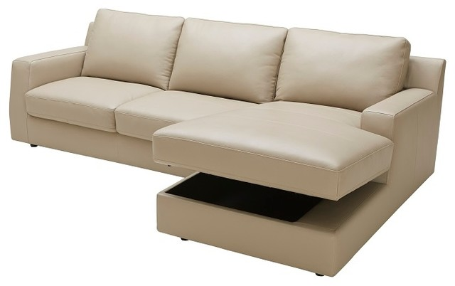 Jenny Beige Leather Sectional Sleeper With Storage in Chaise Left Hand Facing contemporary-sectional  sc 1 st  Houzz : sectional sofa with storage chaise - Sectionals, Sofas & Couches