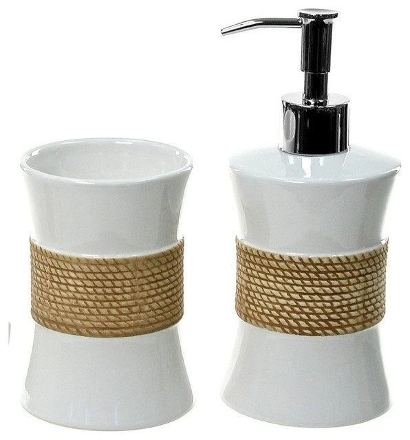 Iris pottery bathroom accessory set in white beach style for White bath accessories sets