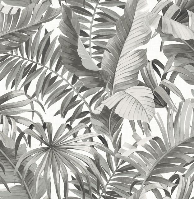 Alfresco Black Palm Leaf Wallpaper Bolt