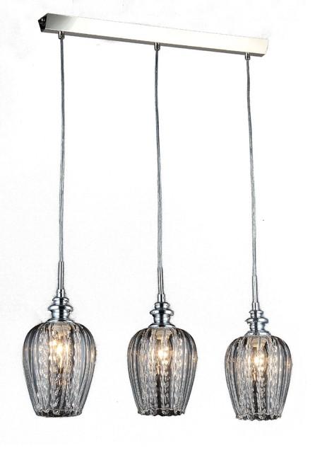 Fusion 3-Light Kitchen Island Pendant Light With Smoked Glass Shades