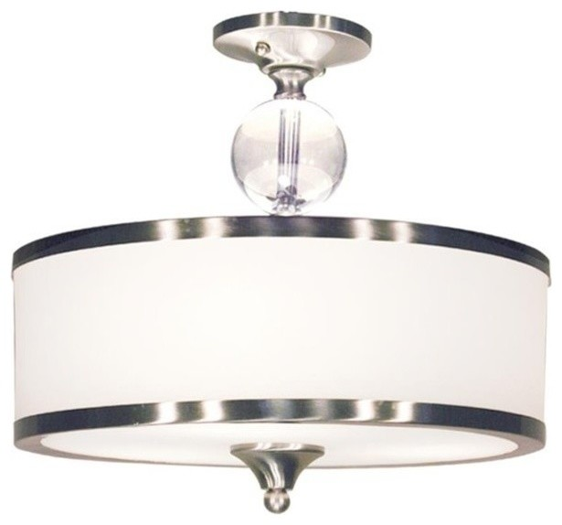 Z-Lite Cosmopolitan 3-Light Semi-Flush Mount, Brushed Nickel.
