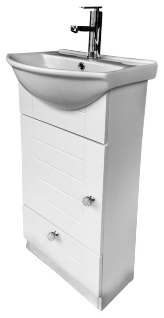 small bathroom vanity with cabinet faucet and drain white