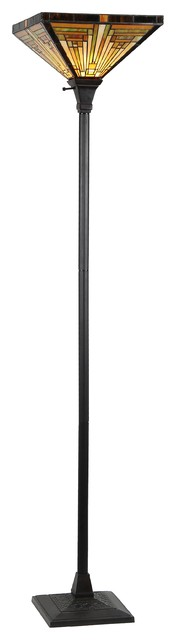 Innes 1-Light Mission Torchiere Floor Lamp.