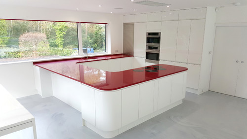 Bold, red countertops by Silestone