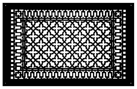 "Aluminum Scroll Pattern Grille, Black, 18""x30""."
