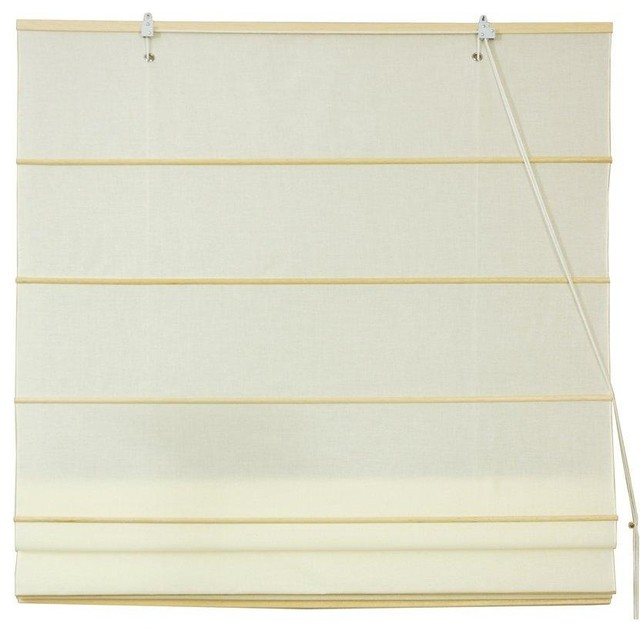 Cotton Roman Shades, Cream, (24 In.x72 In.).