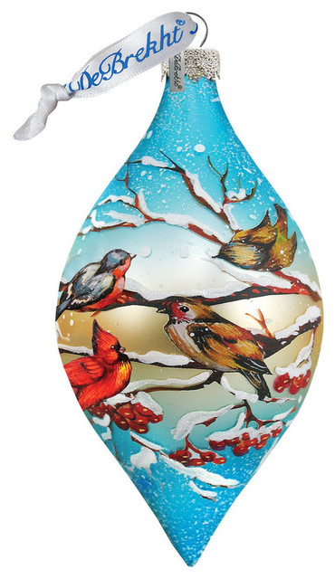 Hand Painted Scenic Glass Ornament Winter Bird Drop Traditional Christmas Ornaments By G Debrekht