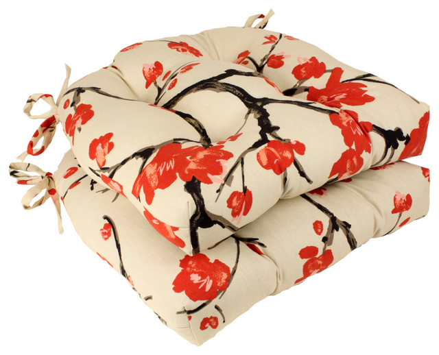 Pillow Perfect Beige/red Flowering Branch Reversible Chair Pads, Set Of 2.