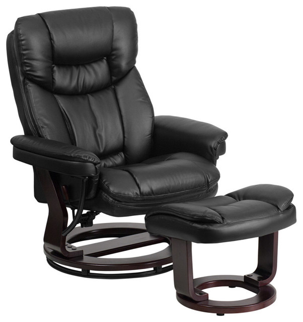 Flash Furniture Contemporary Black Leather Recliner and Ottoman by Flash Furniture