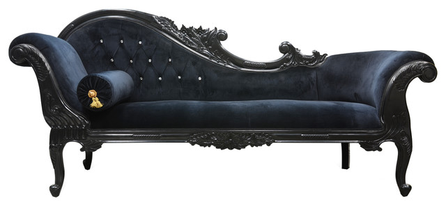 Queen anne 39 s revenge chaise black eclectic indoor for Black chaise lounge indoor