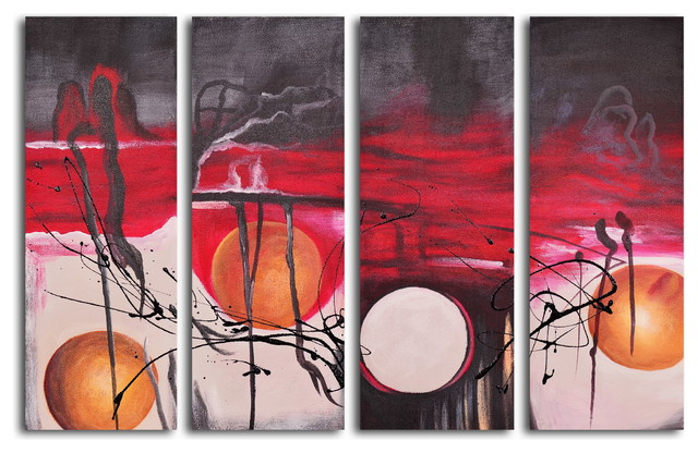"""Hand Painted """"Balls eclipsed in time"""" 4-Piece Set Oil Painting"""
