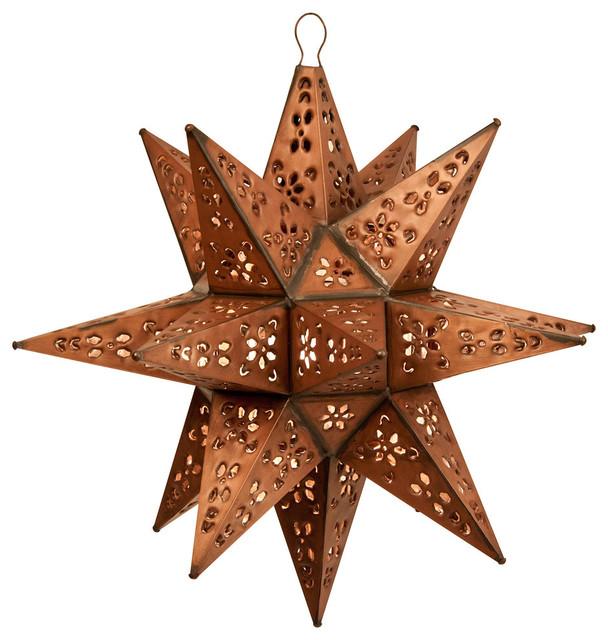 Tin Moravian Star Pendant Light Copper 20 Mount
