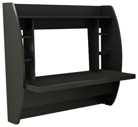 Floating Desk And Shelf, Black.