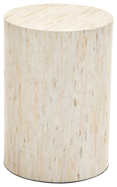 Vintage Traditional Wood Shell Inlay Accent Table, Ivory