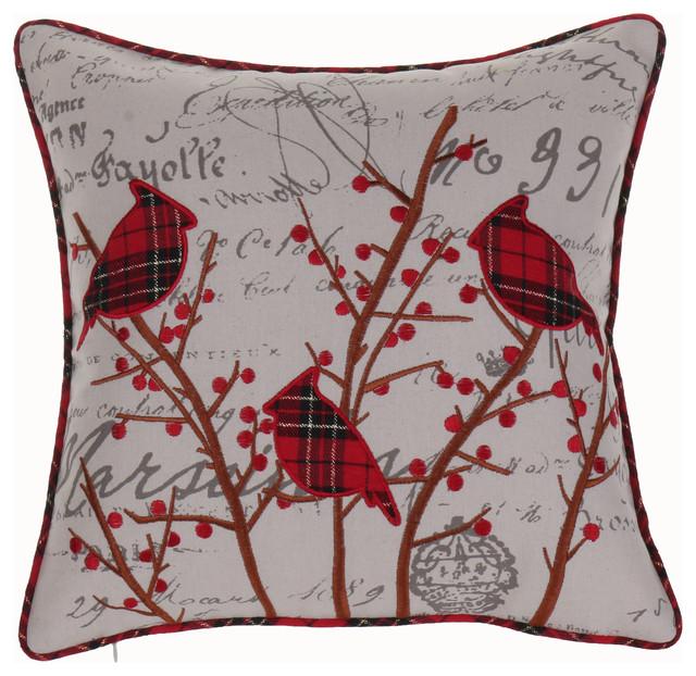 holiday cardinals pillow contemporary decorative pillows - Decorative Pillows