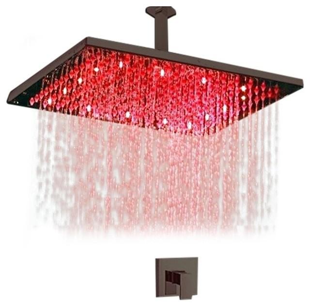Fontana Showers - Square LED Rain Showerhead With Mixing Valve ...