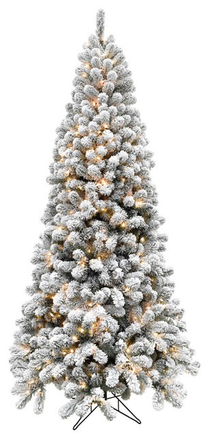 6 5 Flocked Alaskan Pine Christmas Tree Clear Led String Lights