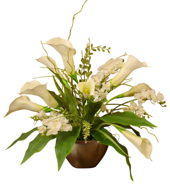 White Calla Lily And Orchid Silk Flower Arrangement Traditional