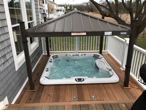 hot tub in deck pictures