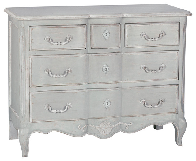 Curved 5-Drawer Chest of Drawers, Grey With White Accents