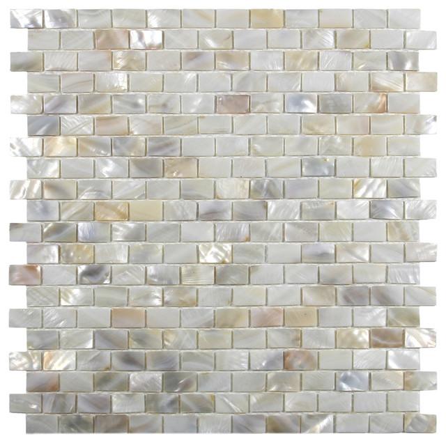 Cream Brick Pearl Shell Tile Sample Modern
