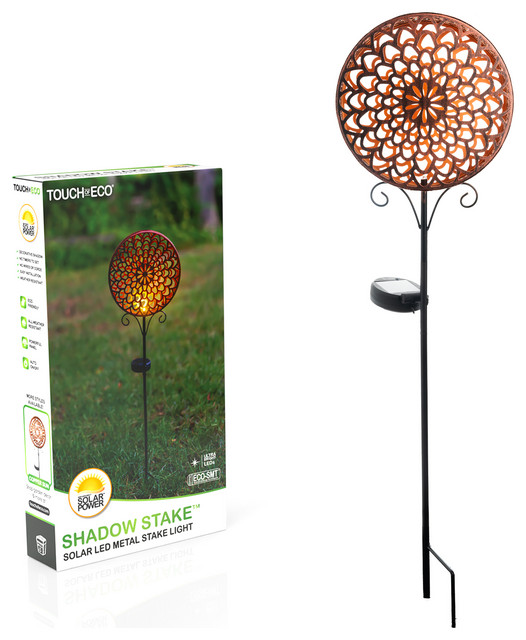 Solar Led Shadow Garden Stake Light Contemporary Path Lights By Touch Of Eco