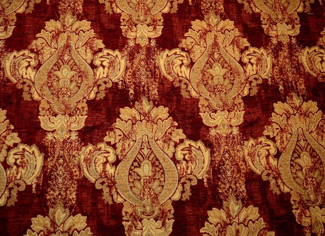 Mercola Red Swavelle Fabric Red Gold Upholstery Damask Victorian