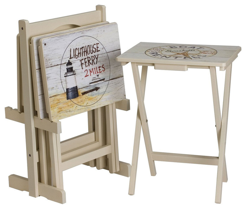Nautical Tv Trays Set Of 4 With Stand Beach Style Tv Trays By J Thomas Products Houzz