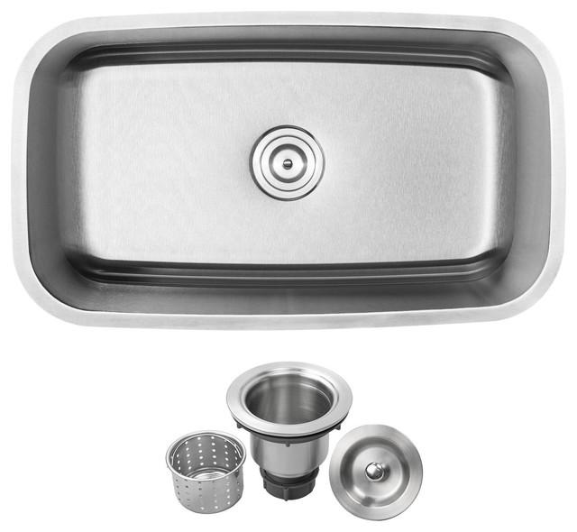 "31.5"" Undermount 16-Gauge Stainless Steel Single Basin Kitchen Sink"