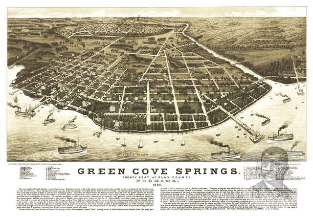 24x36 1885 Green Cove Springs Florida Vintage Old Panoramic City Map