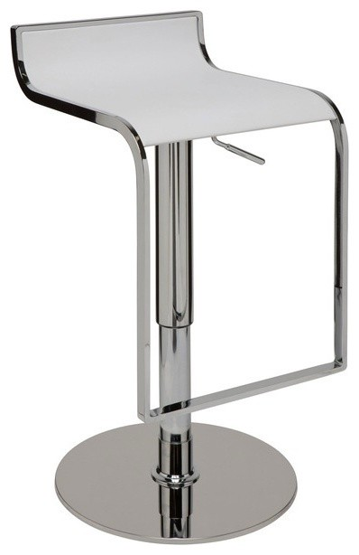 Alexander Adjustable Bar Stool, Modern Contemporary Counter Stool Leather, White.