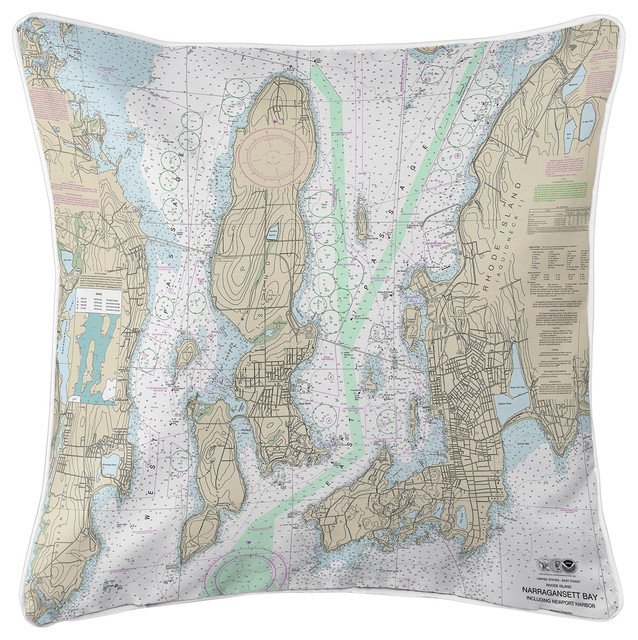 Narragansett Bay, RI Nautical Chart Pillow