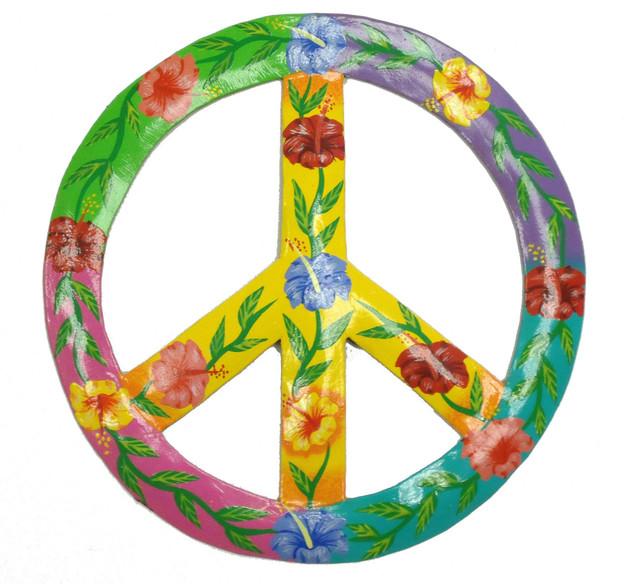 Tropical Hibiscus Peace Sign Haitian Metal Wall Art 9