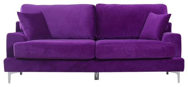 Ultra modern plush velvet living room sofa contemporary for Button tufted chaise settee velvet aubergine