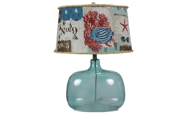 glass table lamp with nautical patchwork shade beach style table lamps. Black Bedroom Furniture Sets. Home Design Ideas