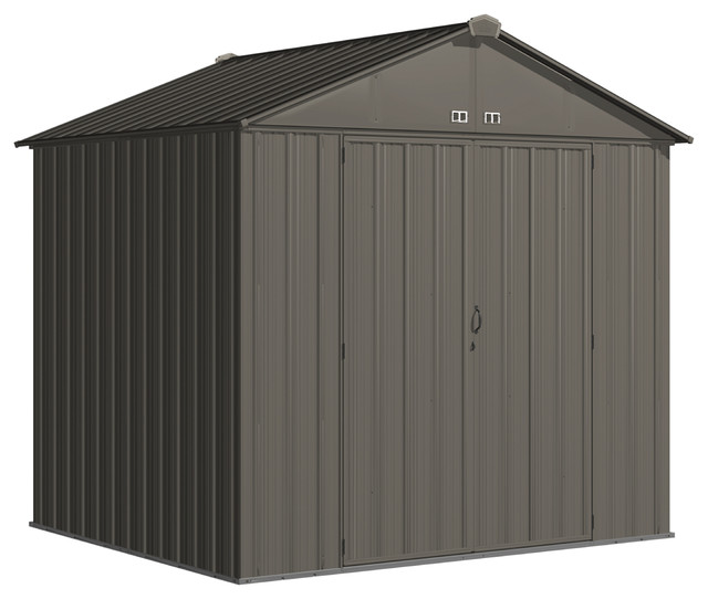 "Ezee Shed, 8&x27;x7&x27;, High Gable, 72"" Walls, Vents, Charcoal."