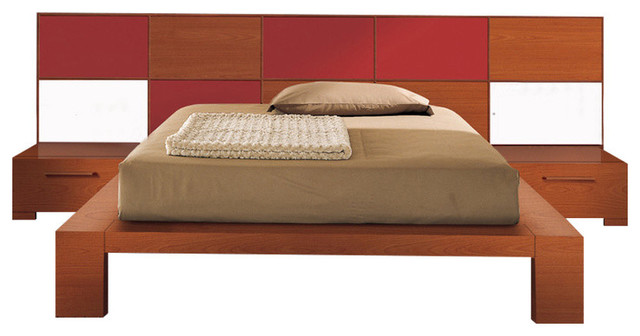 Wynd Bed With Light, Cherry Wood With Red Gloss, Queen