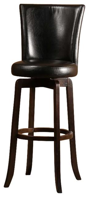 Hillsdale Copenhagen Swivel Bar Stool In Black Vinyl