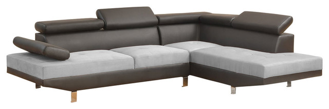 2-Piece Modern Contemporary 2-Tone Faux Leather Sectional Sofa, Black/Gray