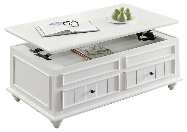 Natesa Coffee Table With Lift Top, White Washed.