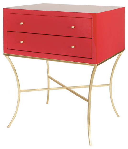Worlds Away Elena Two Drawer Nightstand / Side Table, Red Lacquer And Gold  Contemporary