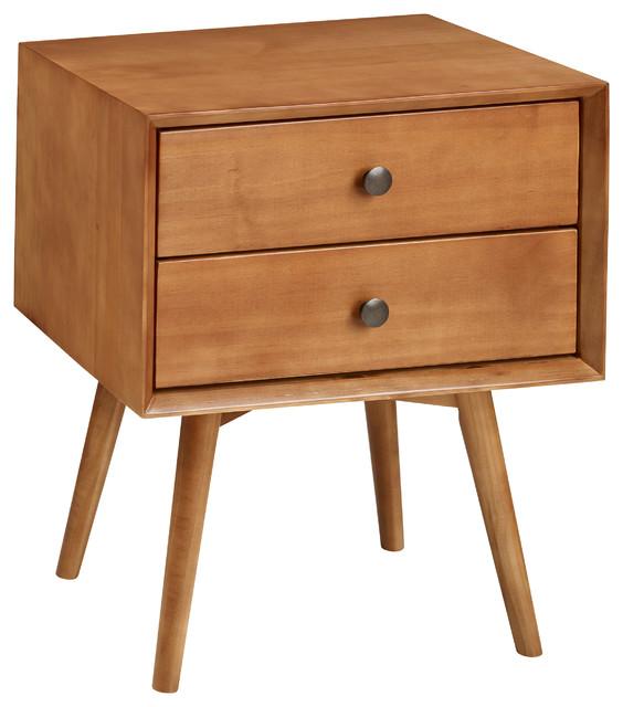 Mid Century 2 Drawer Solid Wood Nightstand Midcentury