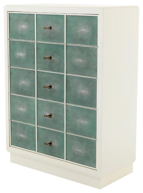 Brunel Modern Classic White Turquoise Shagreen Dresser.