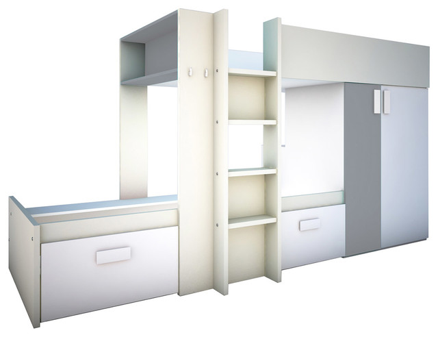 Bo3 Bunk Twin Over Twin Bed, 2 Mattresses Included, Silver.