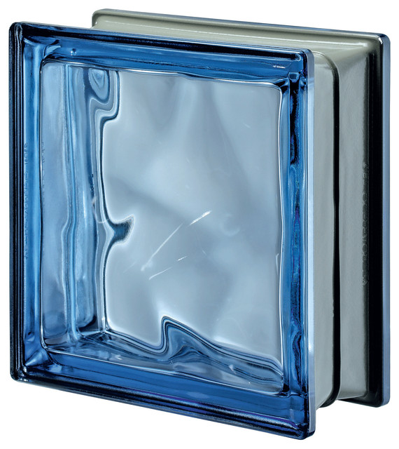 3d Onda Esterna Metalized Glass Block Contemporary