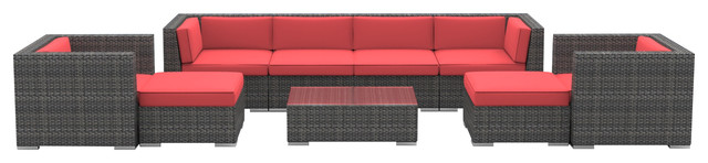 Fiji Outdoor Backyard Wicker Rattan Patio Furniture, 9-Piece Set, Coral Red