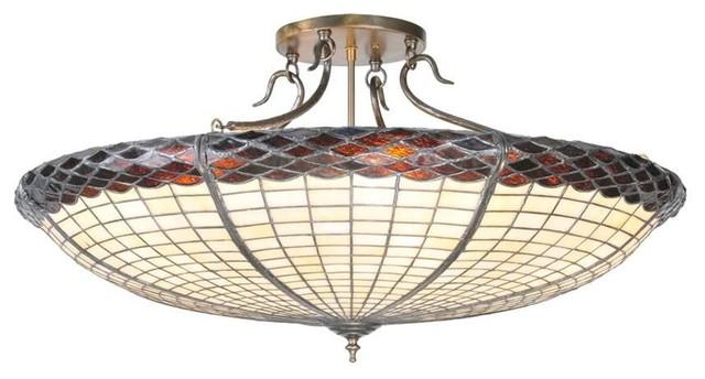 "Meyda Lighting 36""w Greenbriar Oak Semi-Flushmount, Beige Xag, 38484."