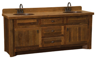 Barnwood Vanity, 3' Without Top, Sink Center, Hickory Legs - Vanity Tops And Side Splashes - by ...