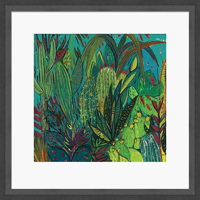 """Cactus Jungle"" Framed Print by Shyama Ruffell, 45x45 cm"