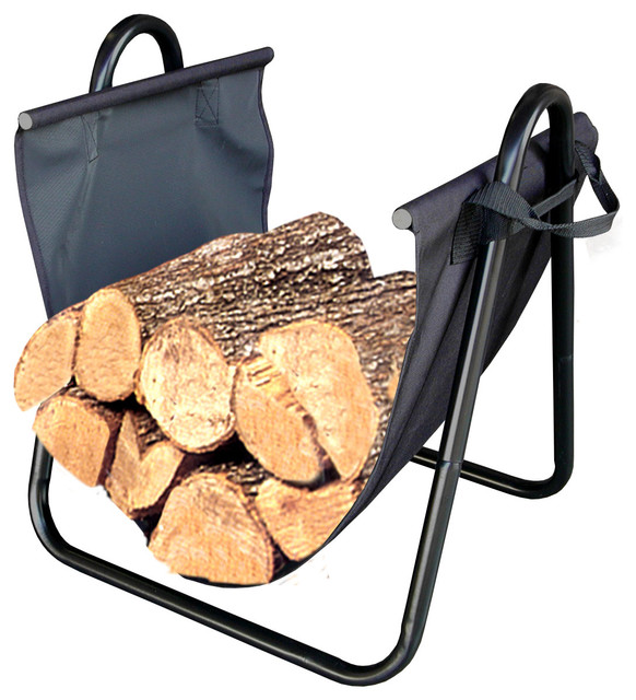 Firewood Log Holder With Canvas Carrier - Contemporary - Firewood ...